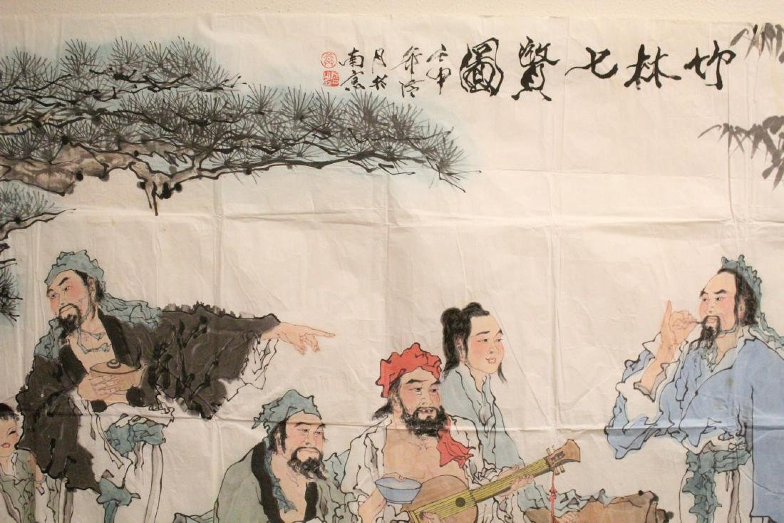 A large Chinese watercolor on rice paper - 4