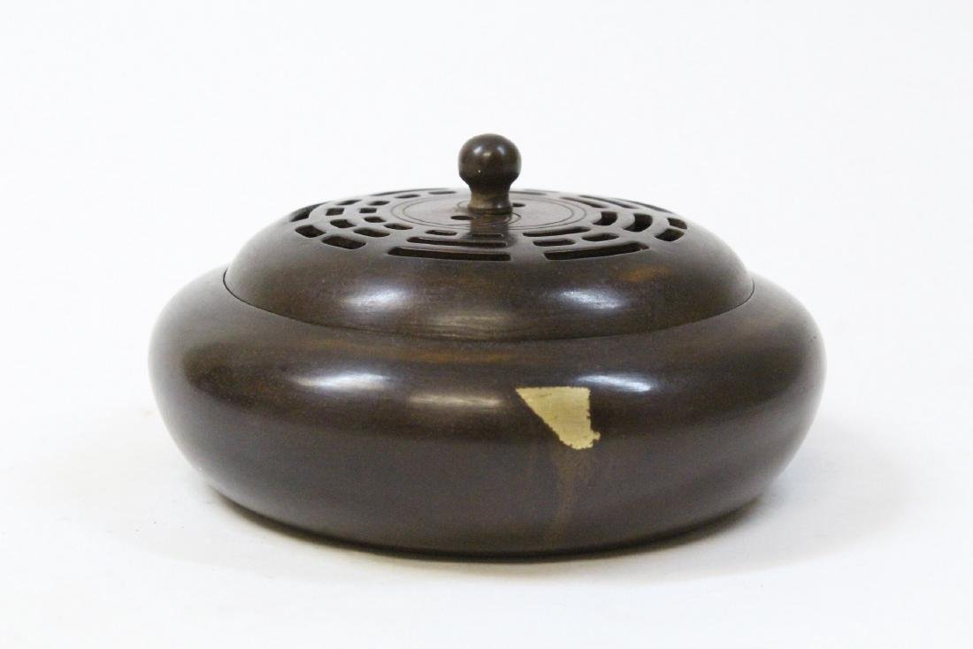 A very heavy Chinese bronze covered censer
