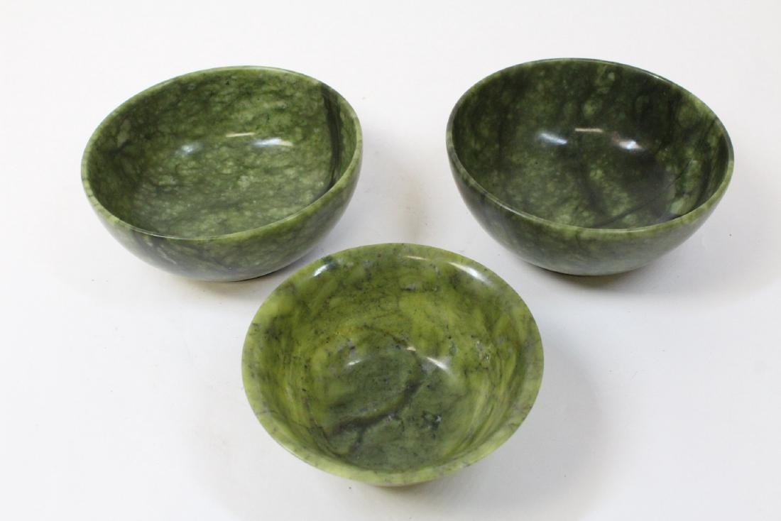 3 Chinese jade carved bowls