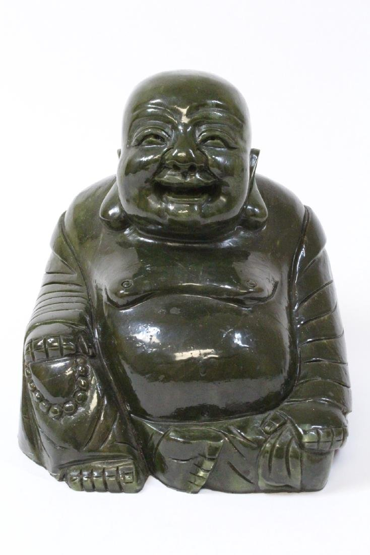 Large Chinese Henan jade carved seated monk