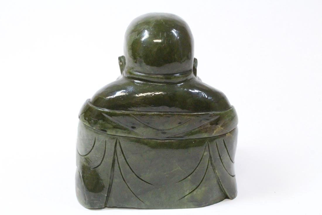 Large Chinese Henan jade carved seated monk - 3