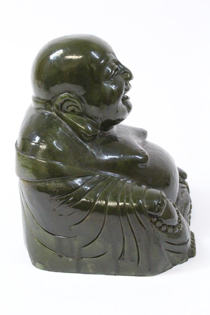 Large Chinese Henan jade carved seated monk - 4
