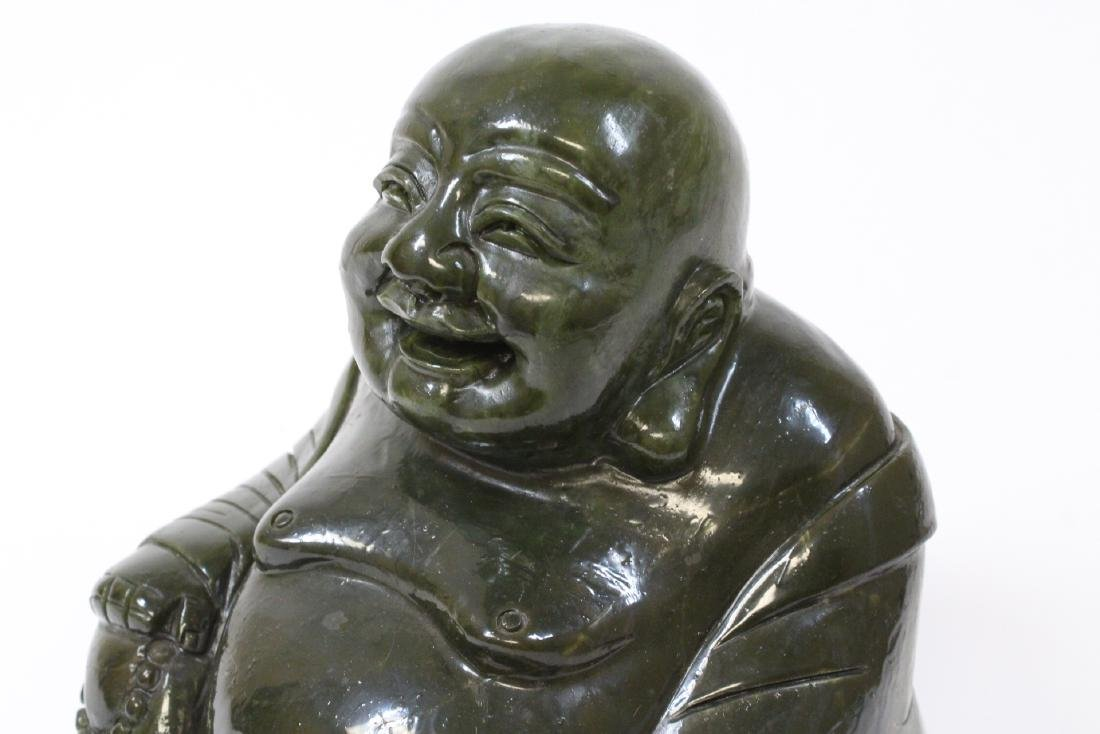 Large Chinese Henan jade carved seated monk - 9