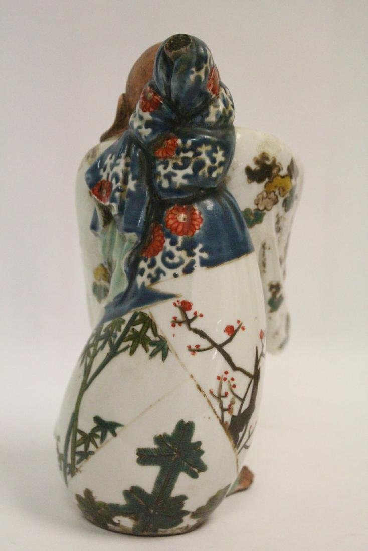 3 Japanese kutani figures and 2 kutani vases - 10