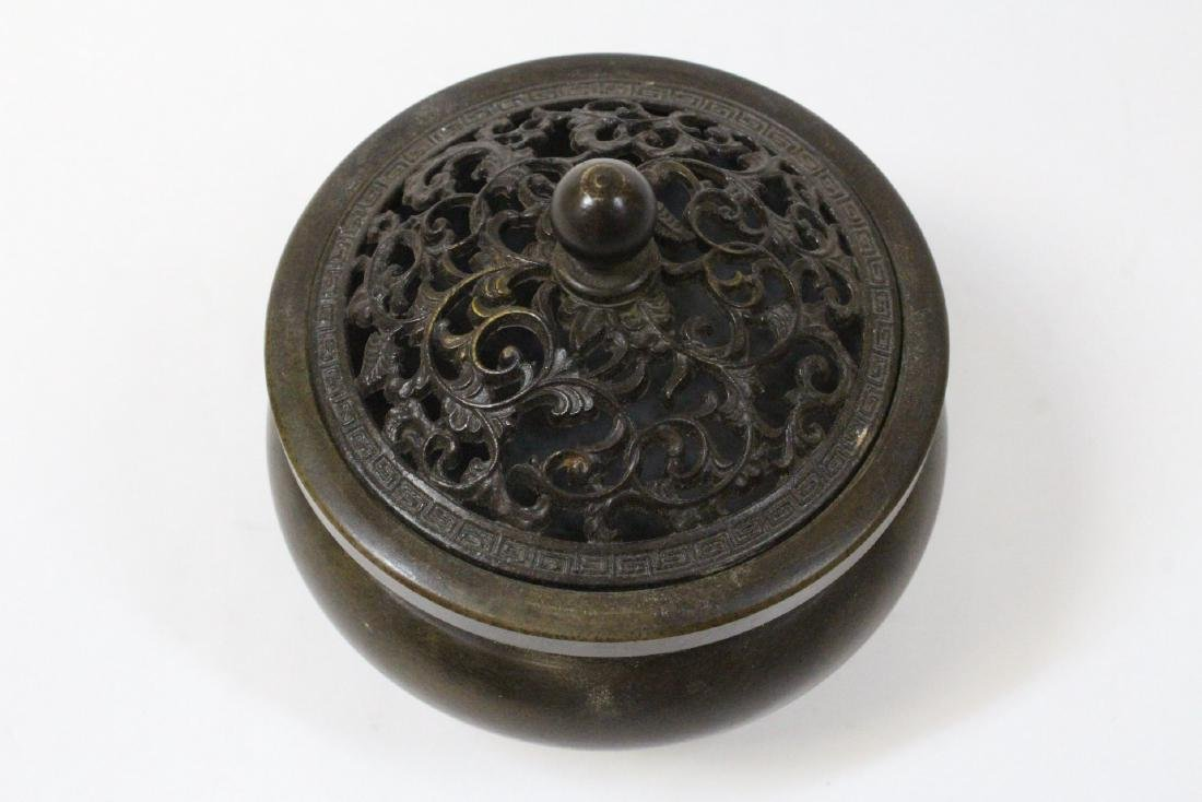 Chinese very heavy round bronze censer with cover - 5