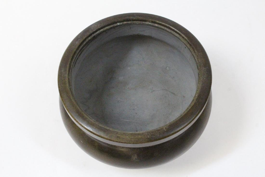 Chinese very heavy round bronze censer with cover - 6