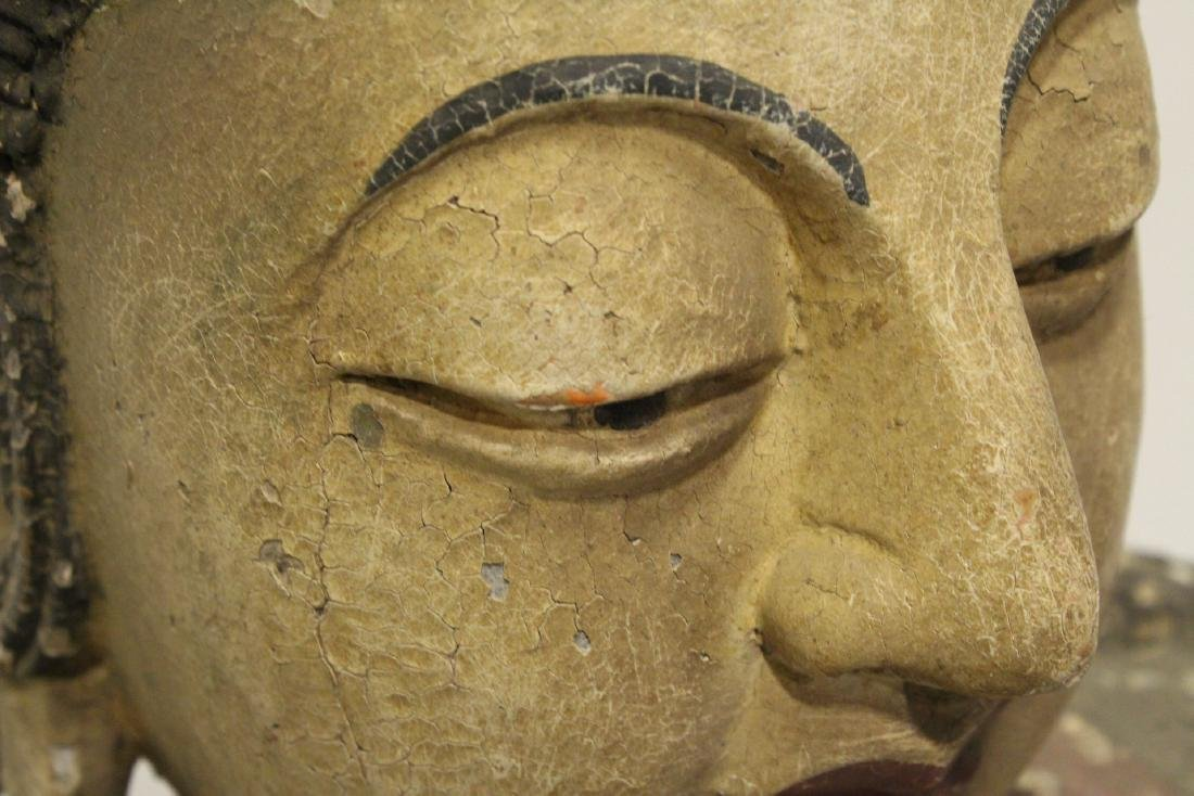 A large wood carved seated Buddha - 10