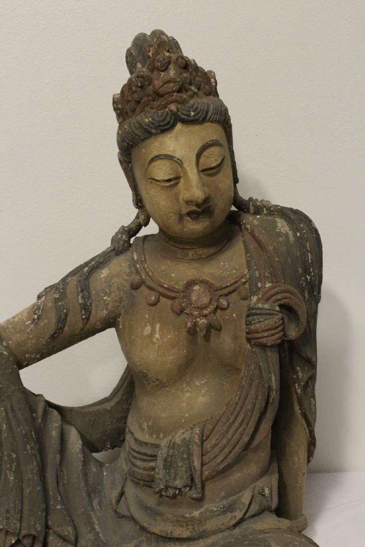 A large wood carved seated Buddha - 2