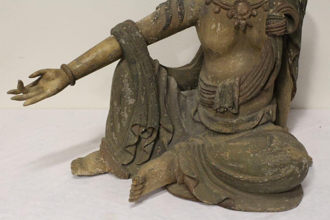 A large wood carved seated Buddha - 3