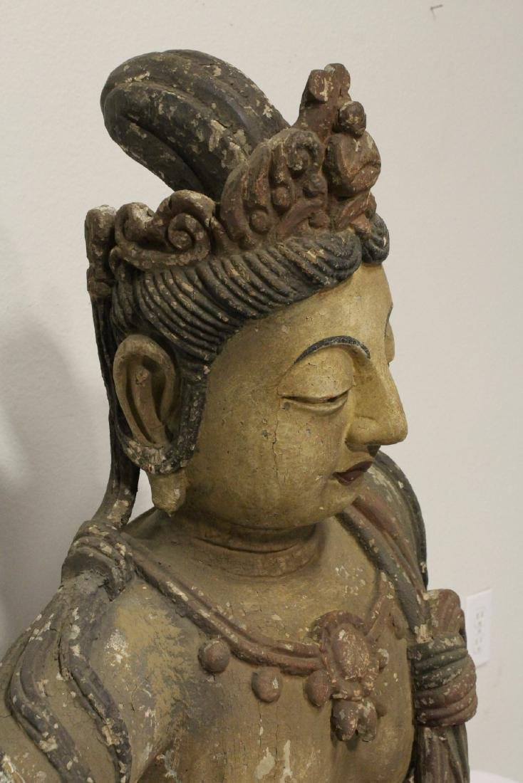 A large wood carved seated Buddha - 7