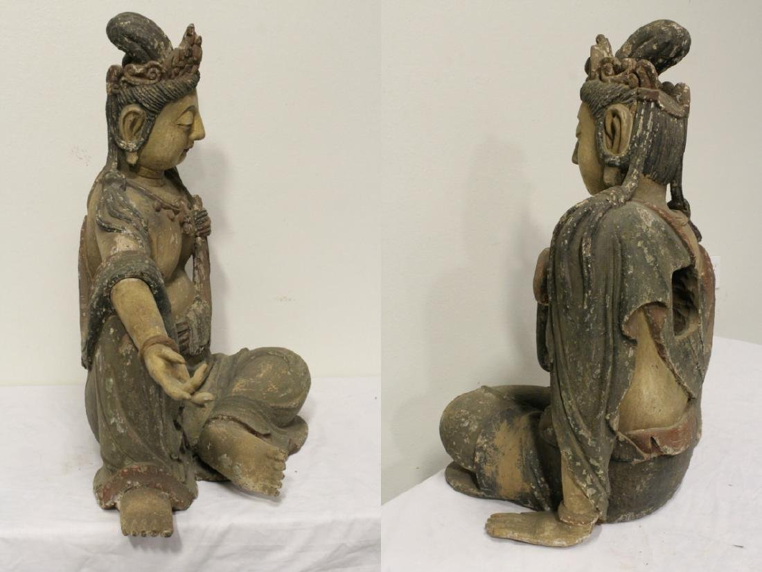 A large wood carved seated Buddha - 8