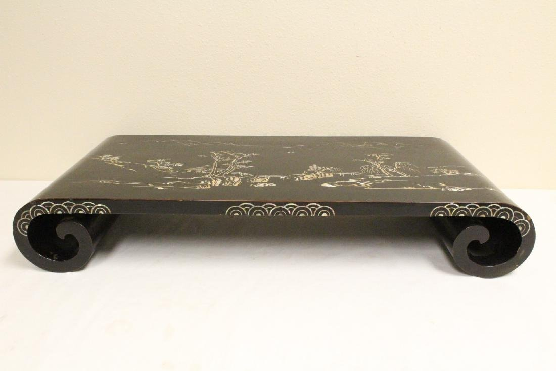 Chinese lacquer scroll stand with MOP inlaid