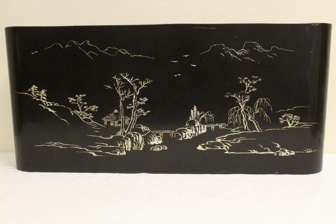 Chinese lacquer scroll stand with MOP inlaid - 4