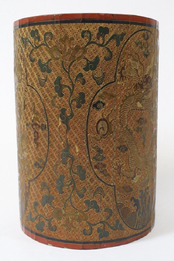 Chinese lacquer brush holder - 2