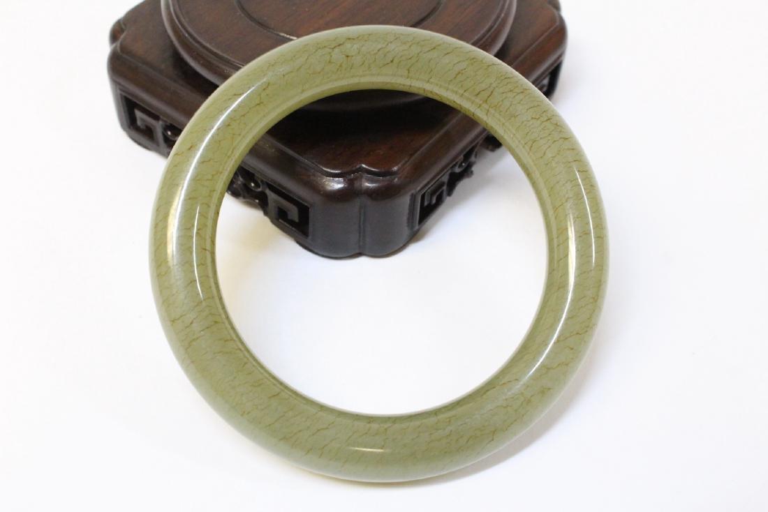 Pair Chinese celadon jade bangle bracelets - 10