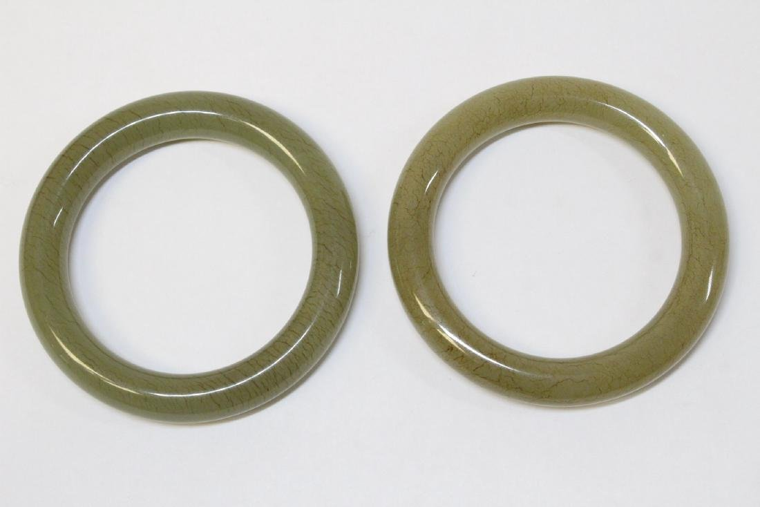 Pair Chinese celadon jade bangle bracelets