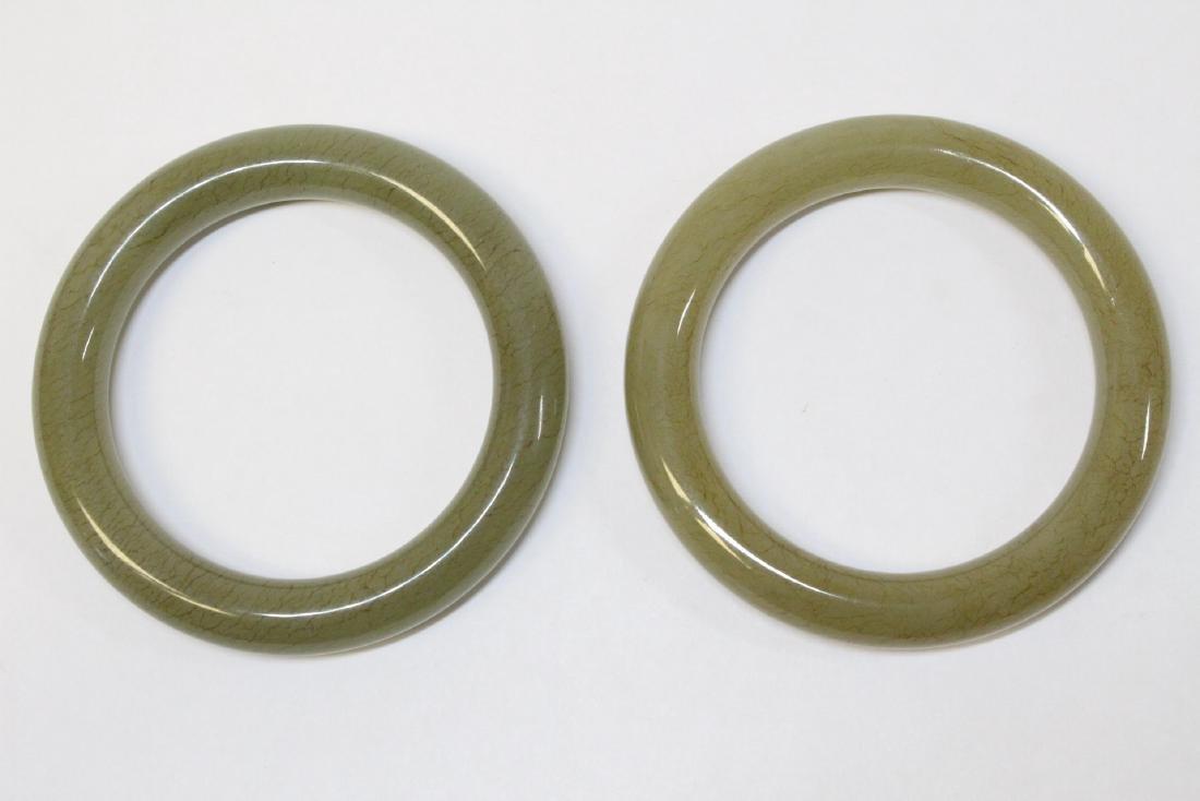 Pair Chinese celadon jade bangle bracelets - 2