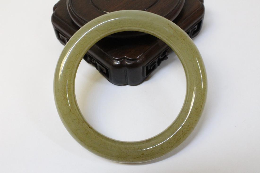 Pair Chinese celadon jade bangle bracelets - 3