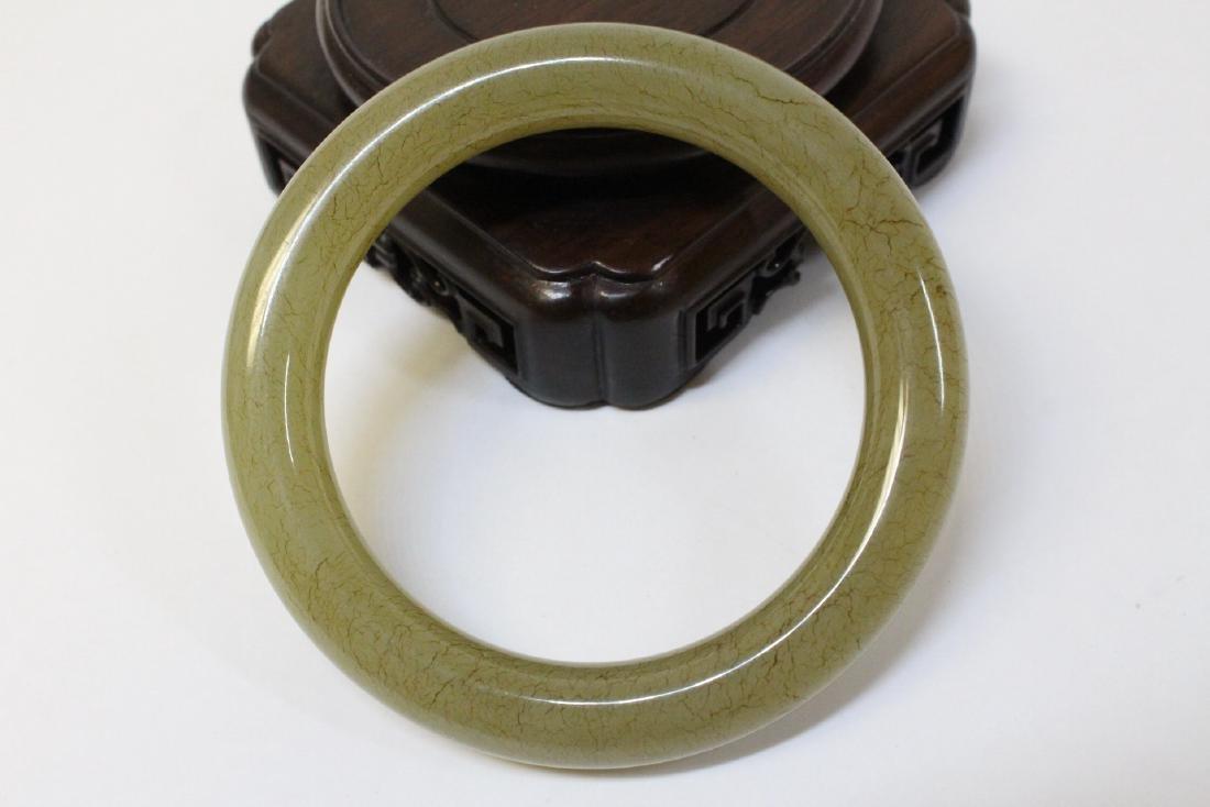 Pair Chinese celadon jade bangle bracelets - 4