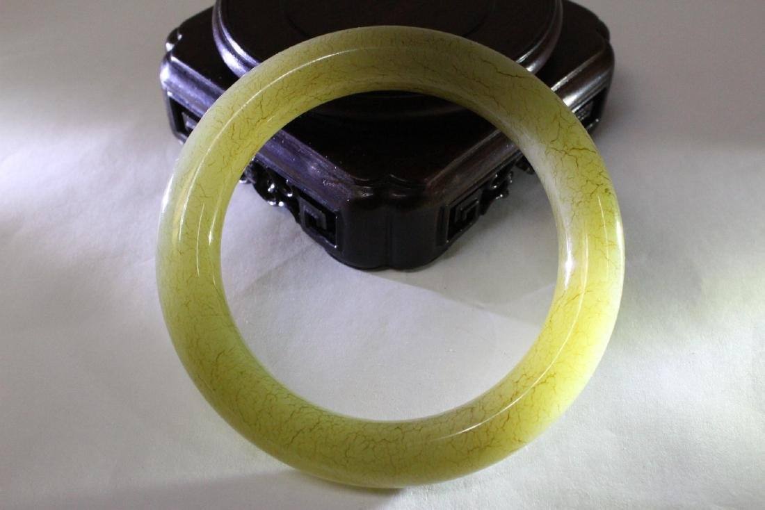 Pair Chinese celadon jade bangle bracelets - 5