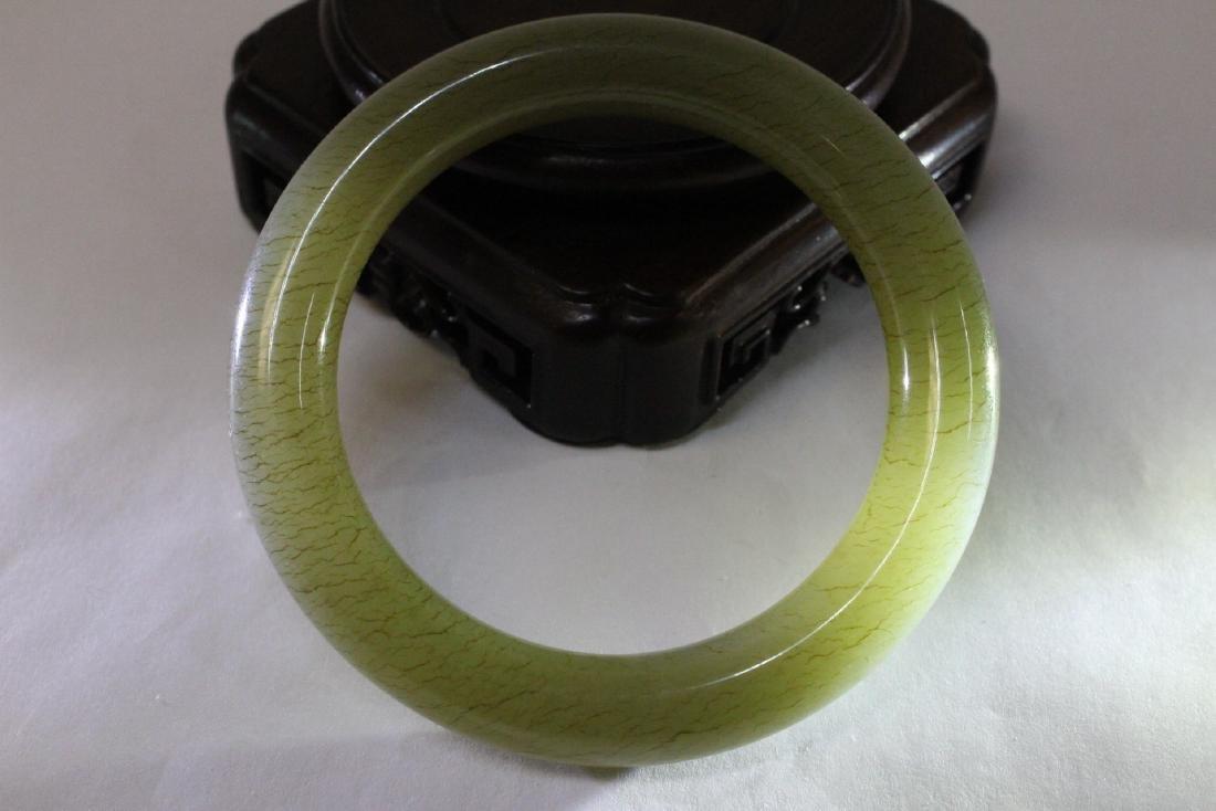 Pair Chinese celadon jade bangle bracelets - 7