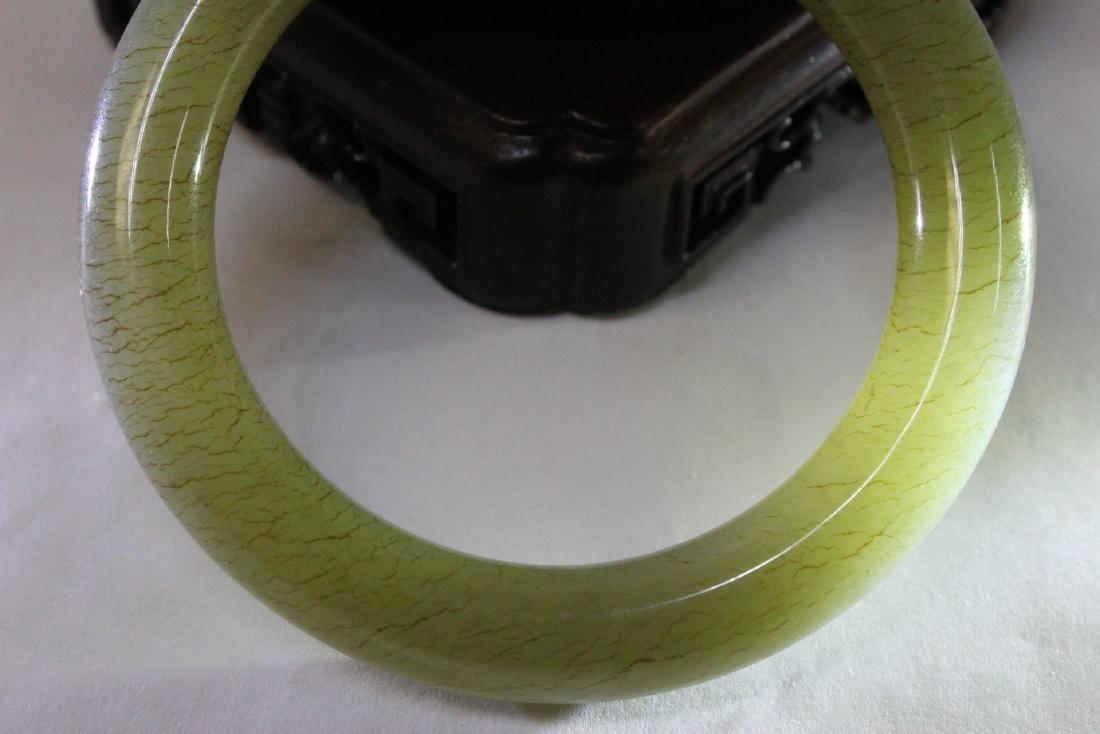 Pair Chinese celadon jade bangle bracelets - 8
