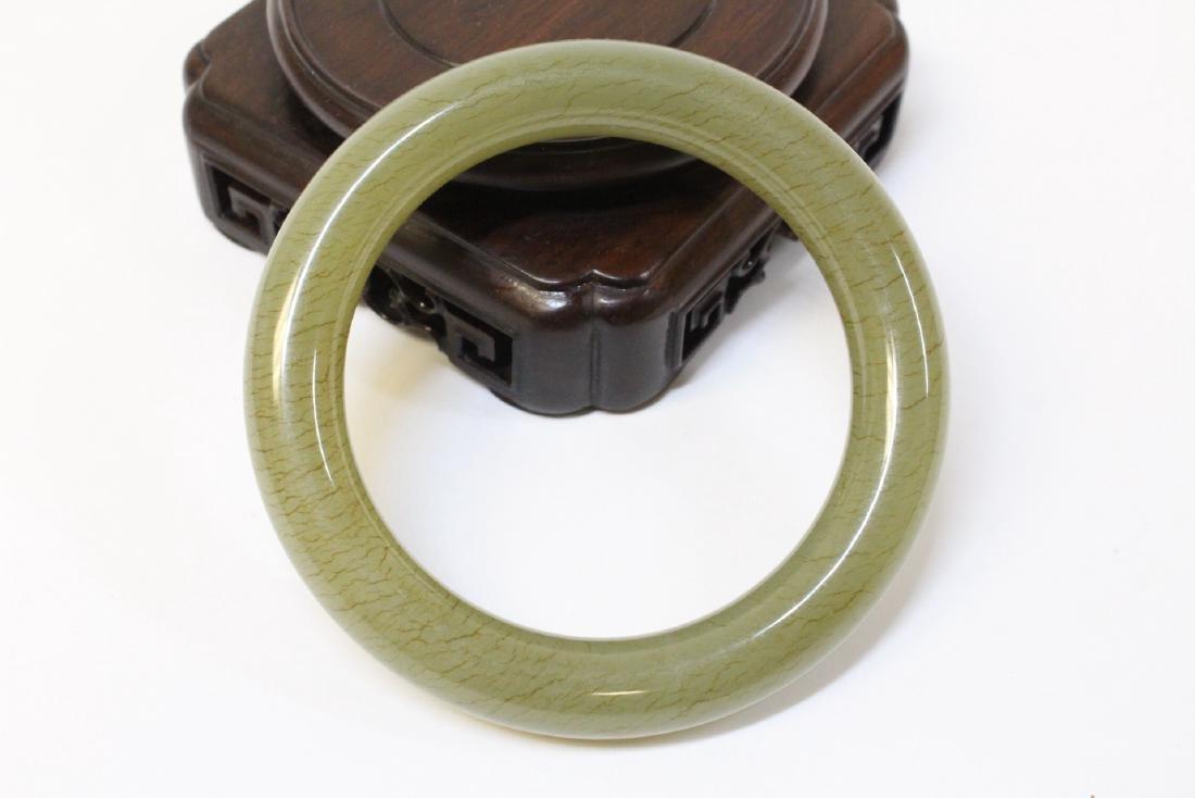 Pair Chinese celadon jade bangle bracelets - 9