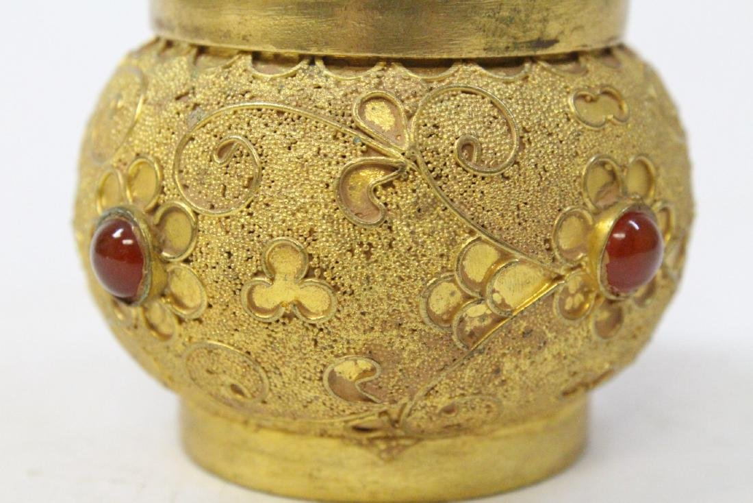 Pair gilt covered boxes - 10