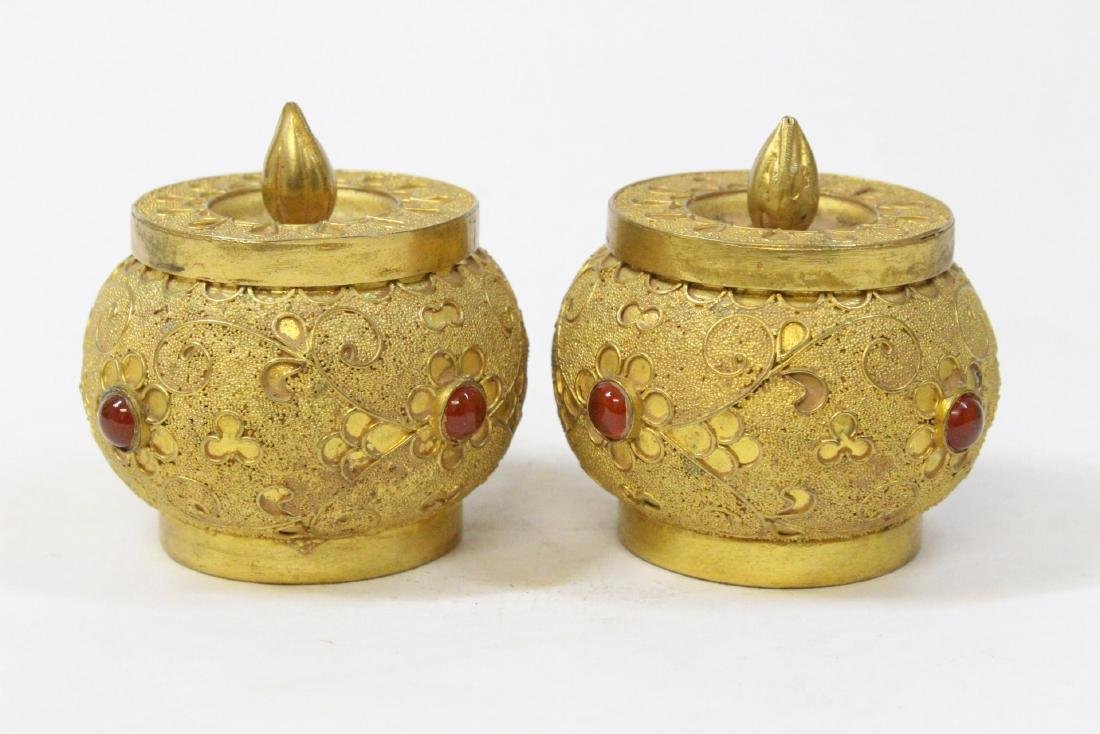 Pair gilt covered boxes - 2