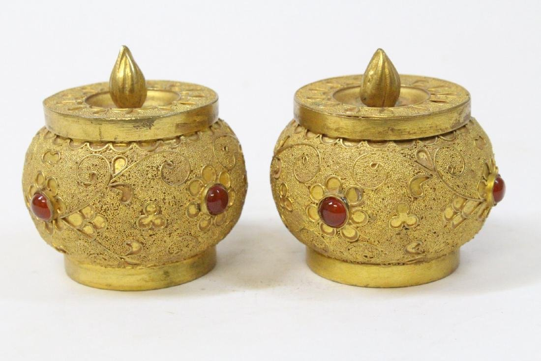 Pair gilt covered boxes - 3