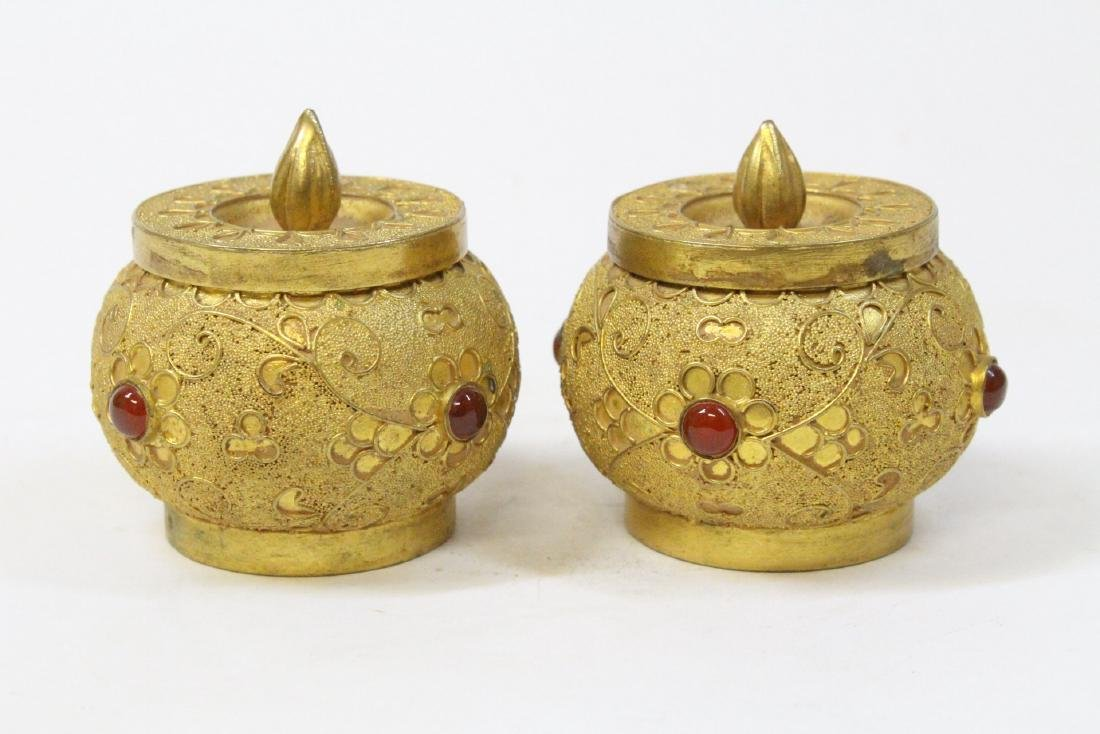 Pair gilt covered boxes - 4