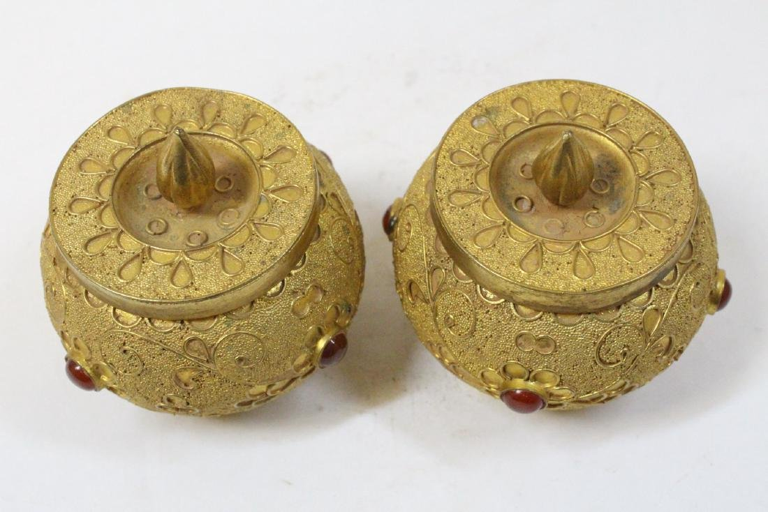 Pair gilt covered boxes - 5