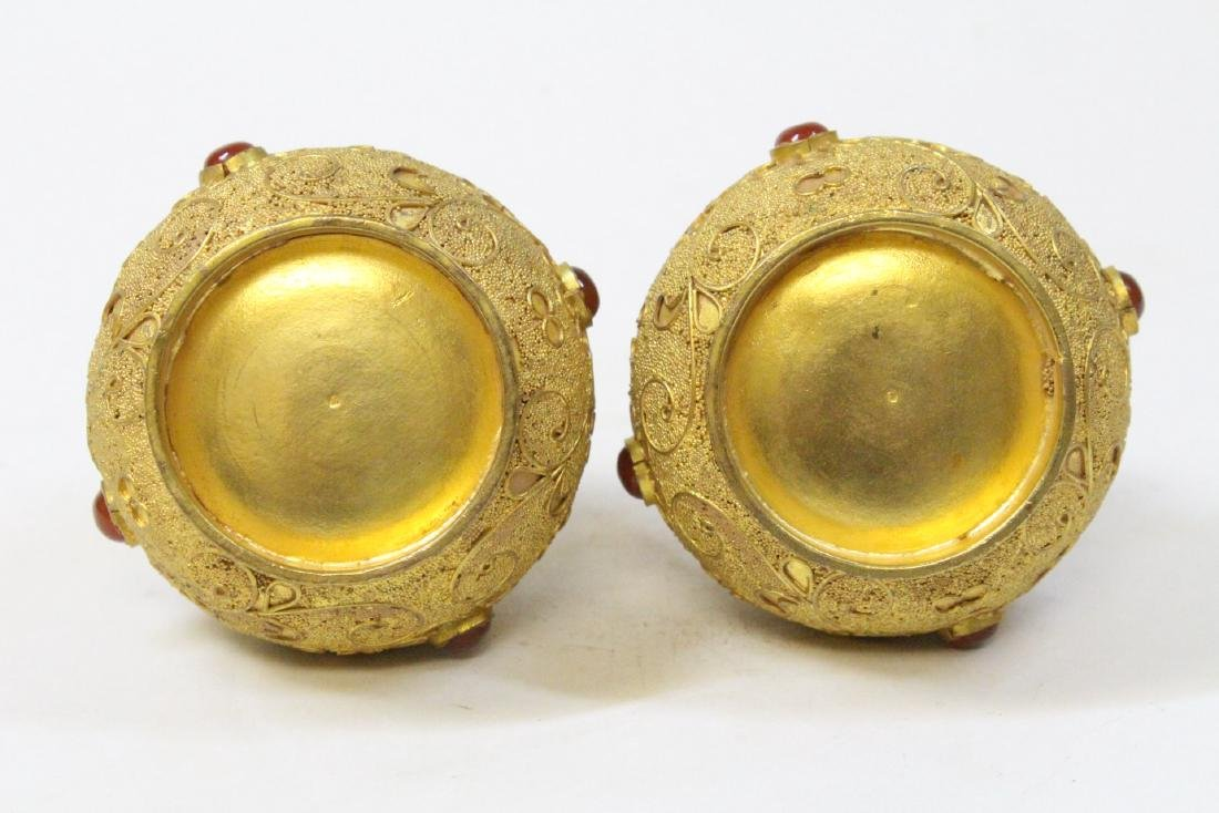 Pair gilt covered boxes - 6