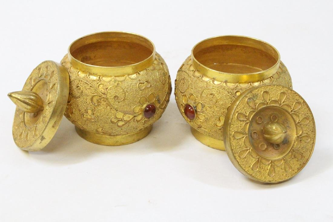Pair gilt covered boxes - 7