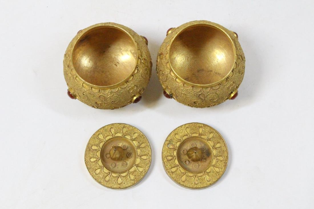 Pair gilt covered boxes - 8