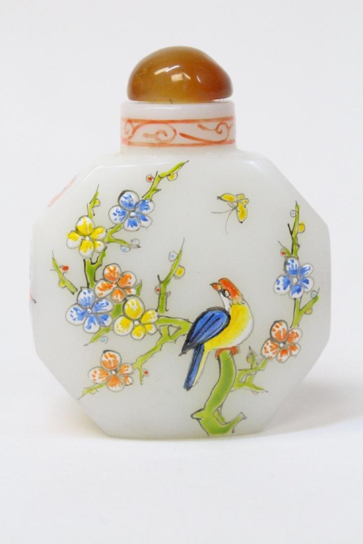 Chinese enamel on milk Peking glass snuff bottle