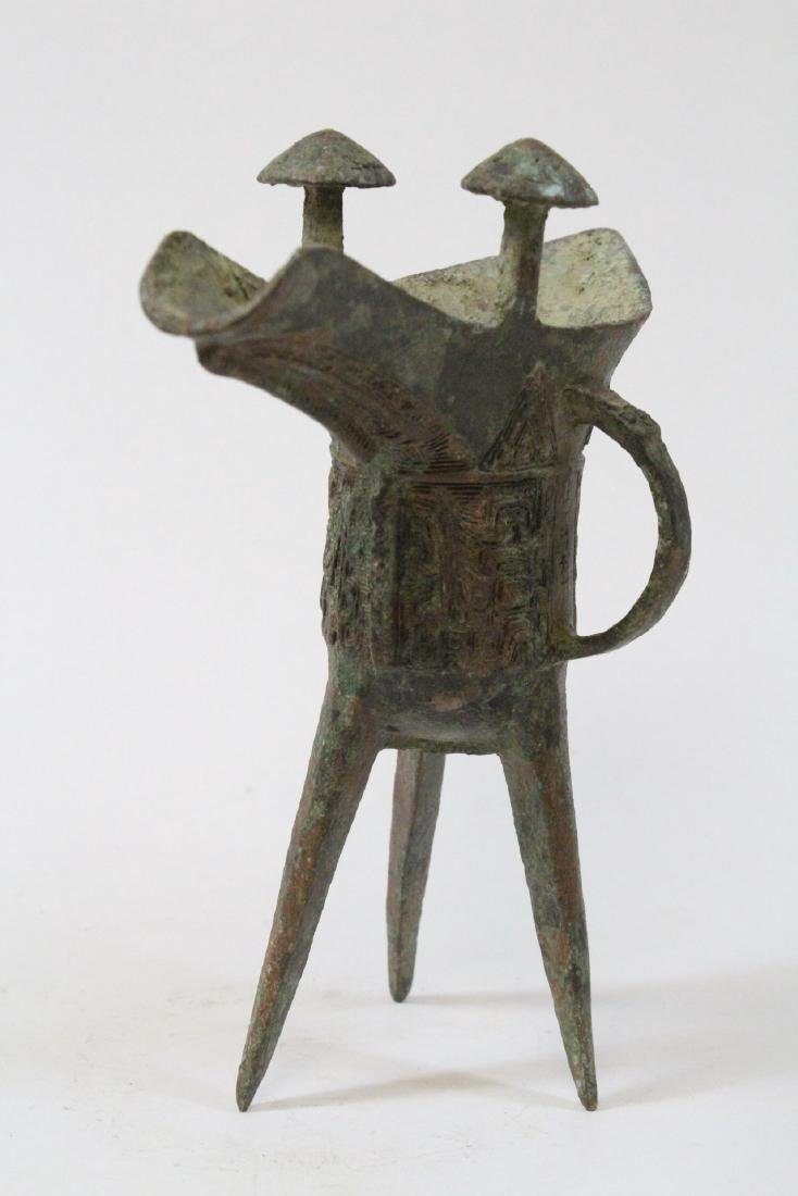 Chinese archaic style bronze jue - 3