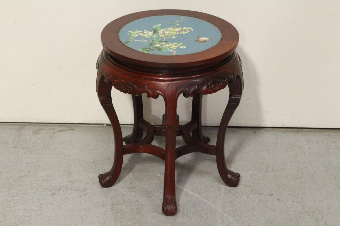 Chinese rosewood pedestal table w/ cloisonne inset