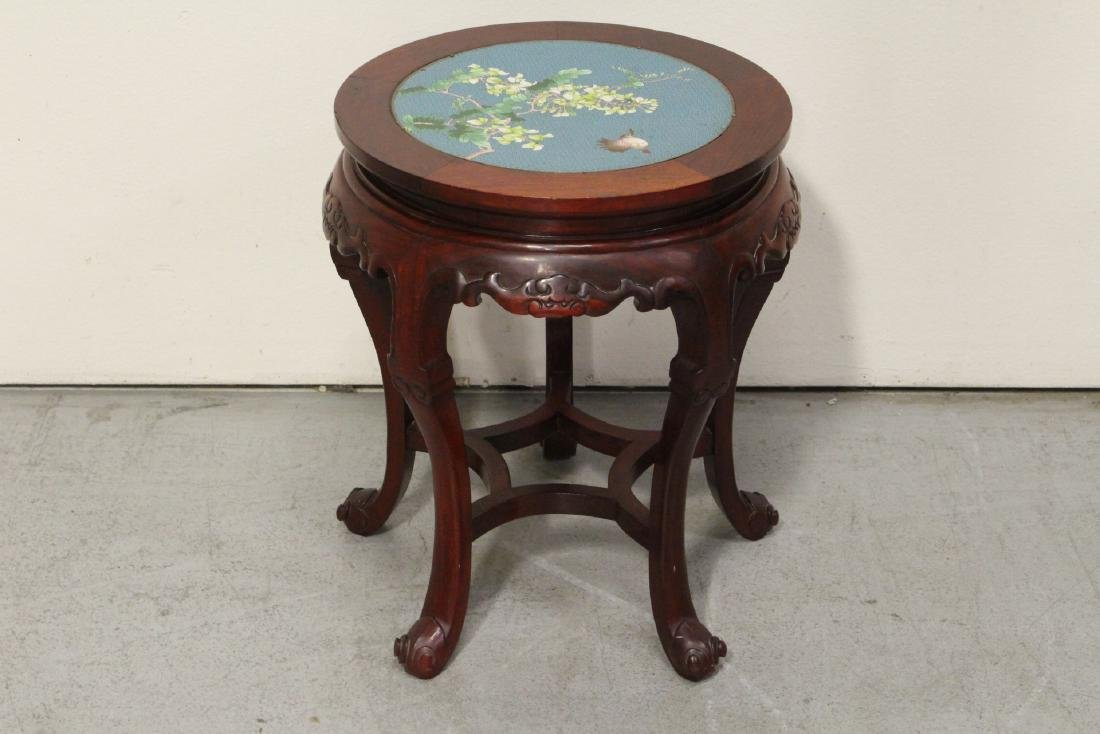 Chinese rosewood pedestal table w/ cloisonne inset - 2