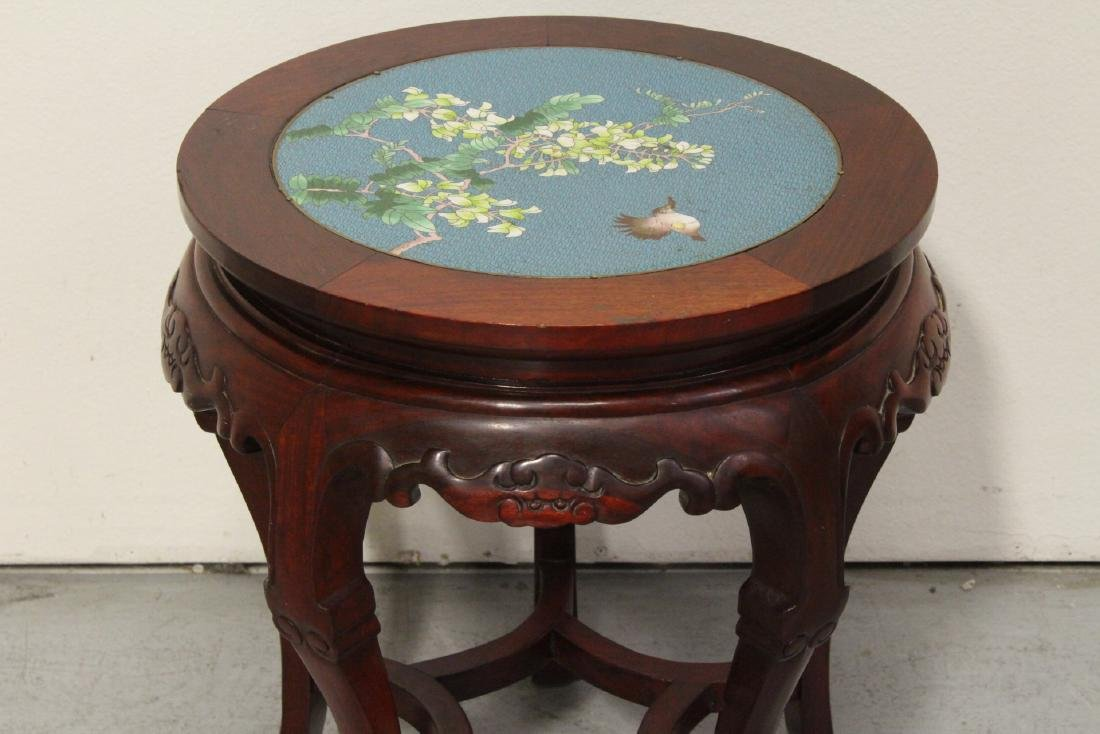 Chinese rosewood pedestal table w/ cloisonne inset - 3