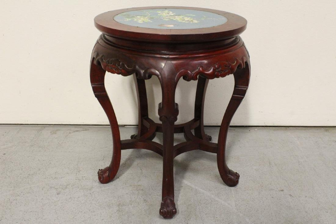 Chinese rosewood pedestal table w/ cloisonne inset - 6
