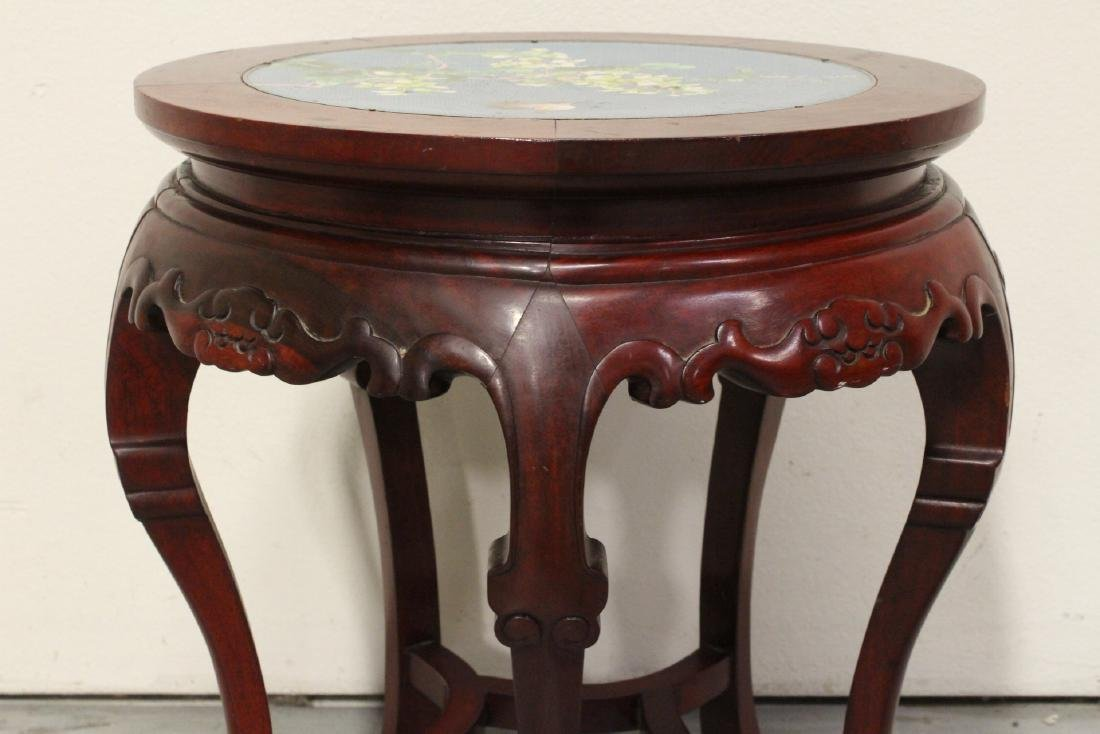 Chinese rosewood pedestal table w/ cloisonne inset - 7