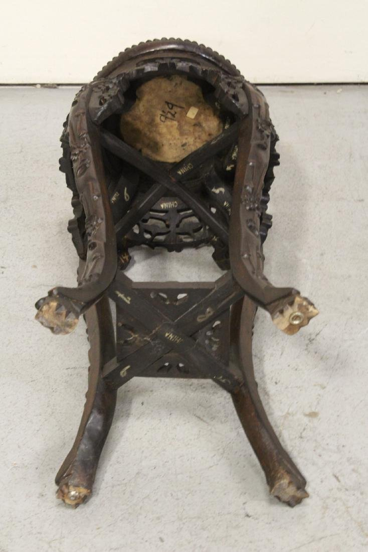 Chinese antique rosewood pedestal table w/ marble inset - 10