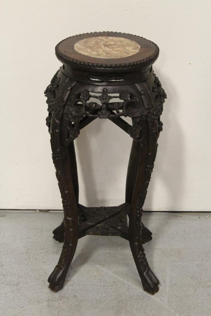 Chinese antique rosewood pedestal table w/ marble inset