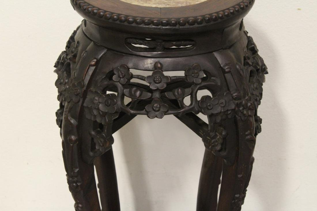 Chinese antique rosewood pedestal table w/ marble inset - 3