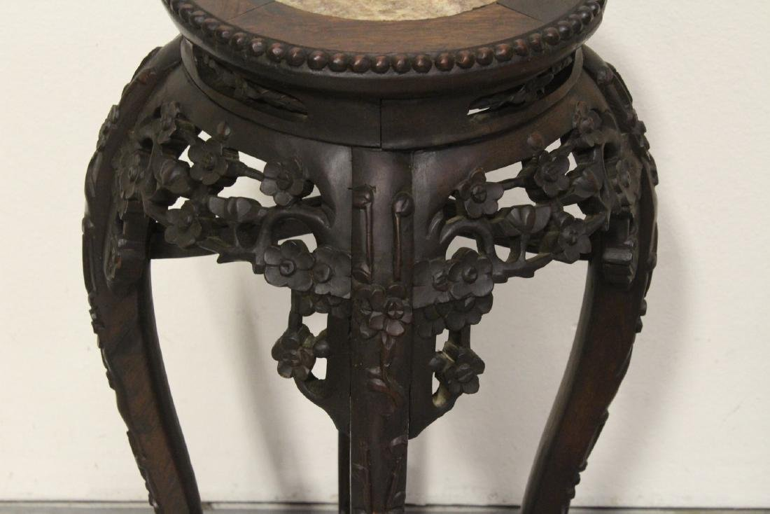 Chinese antique rosewood pedestal table w/ marble inset - 4