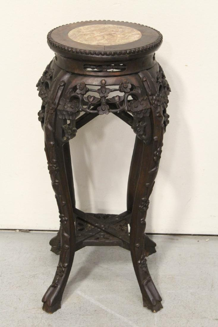 Chinese antique rosewood pedestal table w/ marble inset - 7