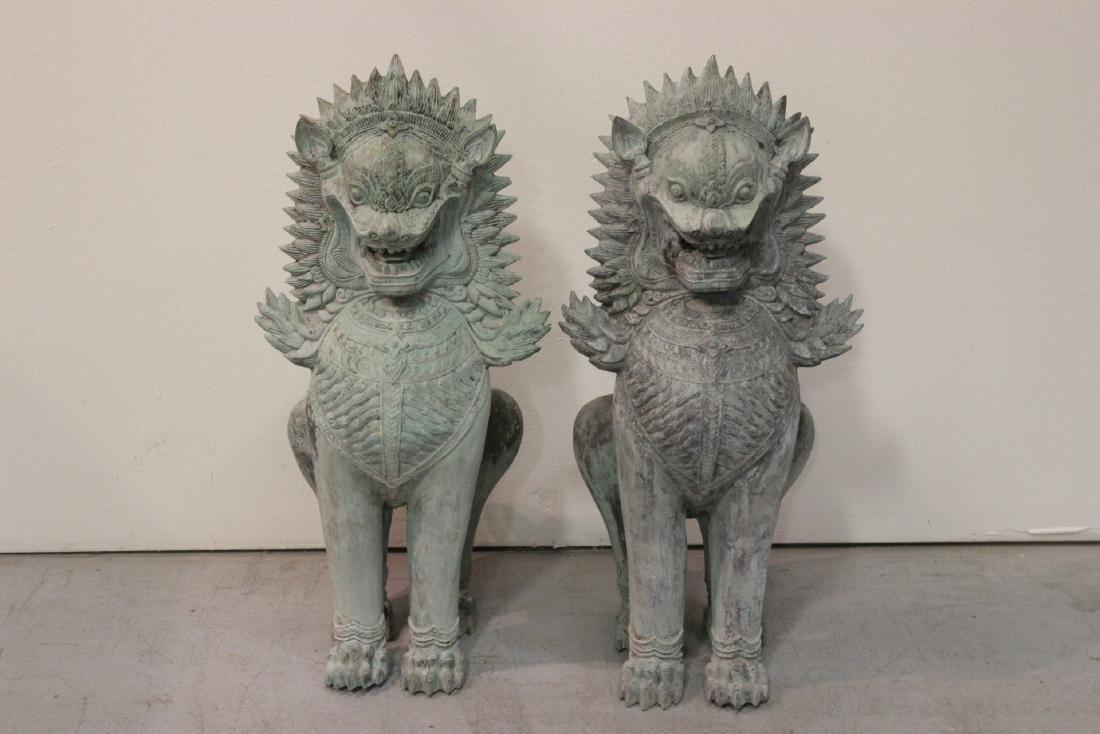 Pair large Chinese bronze fulion