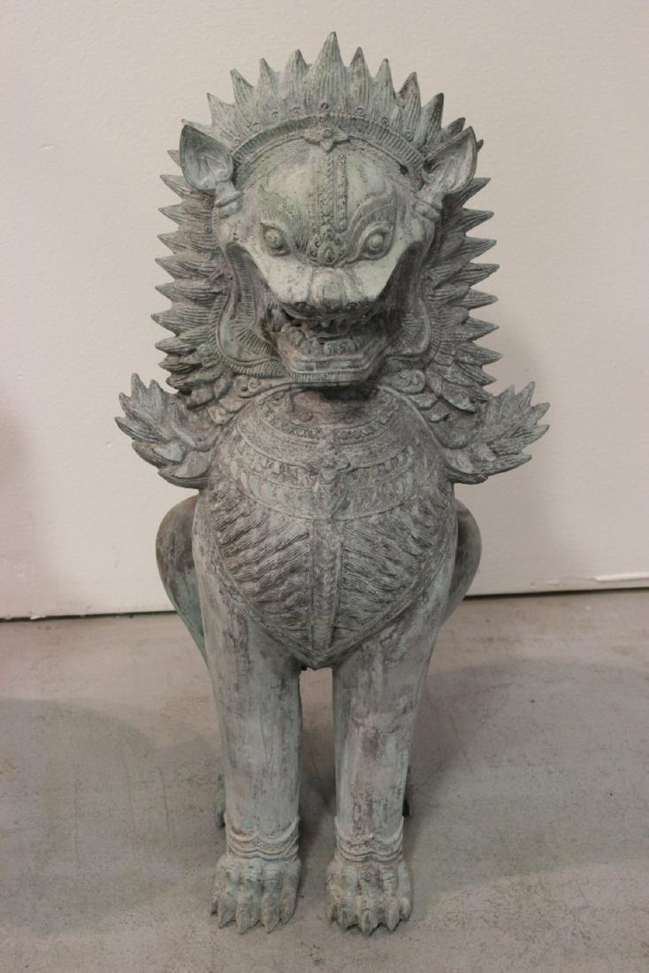 Pair large Chinese bronze fulion - 5