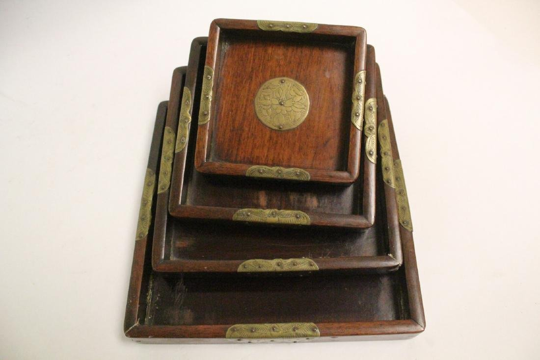 Set of 4 Chinese rosewood trays - 10